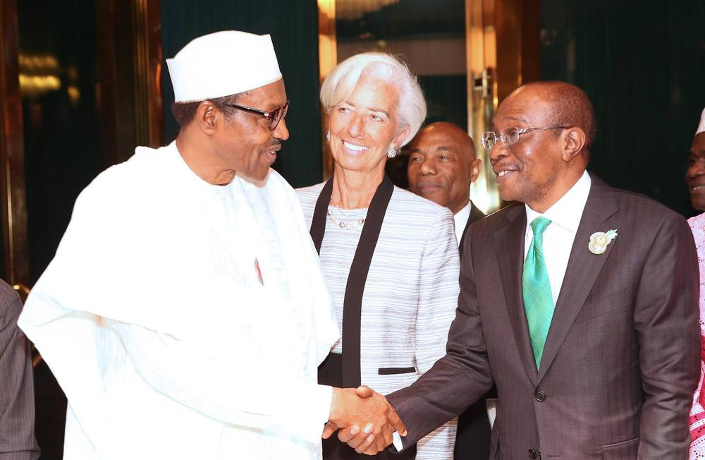 Buhari, Lagarde and CBN Governor Godwin Emefiele