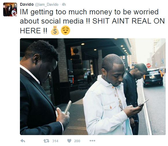 Davido Says He's done with Social Media as he Now Has Plenty Money + Social media Aint Real to Him no More
