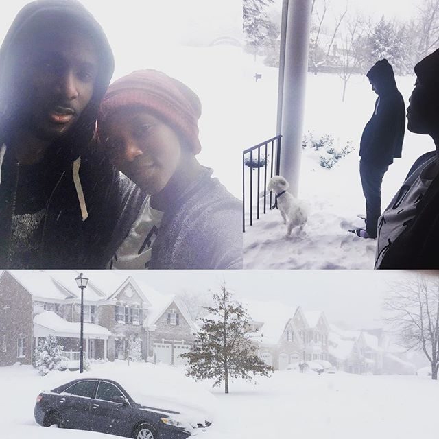 Genevieve's #snowfie with her brother