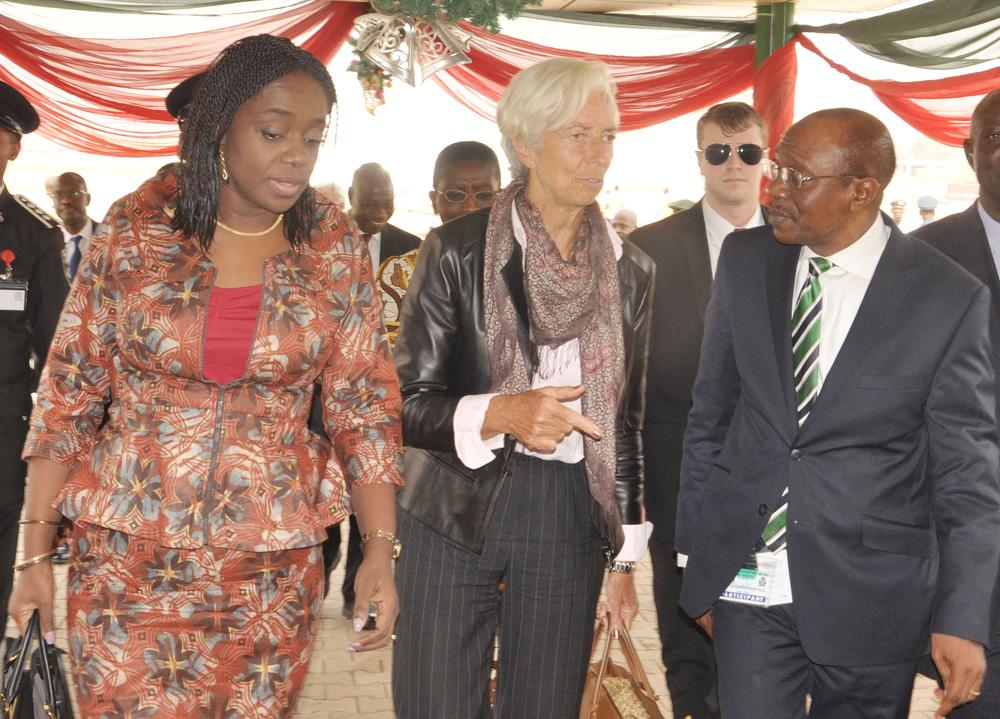 Minister of Finance Kemi Adeosun, MD IMF Christine Lagarde, CBN Govenor Godwin Emeliefe