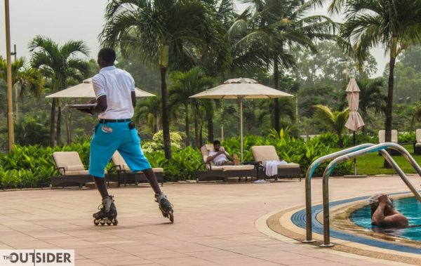 At the poolside, the waiters at the Movenpick Hotel deliver your orders on skates. Swoosh!