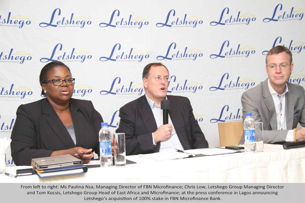From left to right: Ms Paulina Nsa, Managing Director of FBN Micro finance; Chris Low, Letshego Group Managing Director and Tom Kocsis, Letshego Group Head of East Africa and Micro finance; at a press conference in Lagos announcing Letshego's acquisition of 100% stake in FBN Micro Finance Bank.