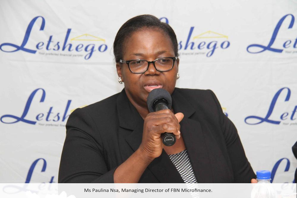 Ms Paulina Nsa, Managing Director of FBN Micro finance; at a press conference in Lagos announcing Letshego's acquisition of 100% stake in FBN Micro Finance Bank.