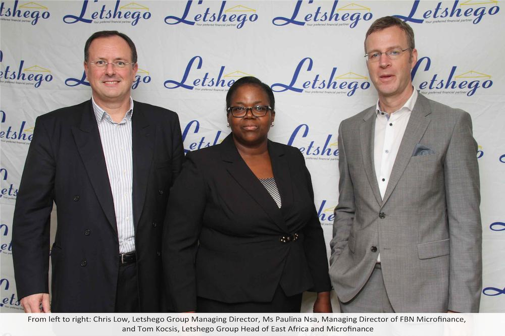 From left to right: ; Chris Low, Letshego Group Managing Director; Ms Paulina Nsa, Managing Director of FBN Micro finance and Tom Kocsis, Letshego Group Head of East Africa and Micro finance; at a press conference in Lagos announcing Letshego's acquisition of 100% stake in FBN Micro Finance Bank.