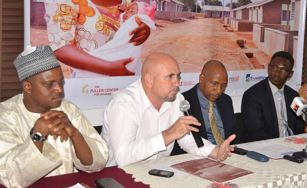PIC 18. FROM LEFT: HEAD SPECIAL PRODUCT GROUP, FEDERAL MORTGAGE BANK OF NIGERIA, MR SHEHU OSIDI; HEAD OF VALUE CHAIN UNIT, GERMAN INTERNATIONAL COOPERATION, MR HORST BAUERN-FEIND; CHIEF EXECUTIVE OFFICER, MILLARD FILLER HOUSING (MFH), MR SAM ODIA AND THE CHAIRMAN, BOARD OF DIRECTORS, MFH, MR SOLOMON YERO AT A NEWS CONFERENCE ON AFFORDABLE HOUSING UNITS IN ABUJA ON FRIDAY (29/1/2016) 0585/29/01/2016/EO/ICE/NAN