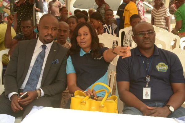 "L-R: Regional Director , South East 2, Chukwudi Onuegbu, Head, Retail Banking ,Nkolika Okoli and Business Development Manager, Eziukwu Road Branch , Aba, Chinedu Oguejiofor all of the Skye Bank Plc. at the Bank's ""Reach For The Skye"" reward draw held in Ariaria International Market, Aba in Abia State on 21st January , 2016"