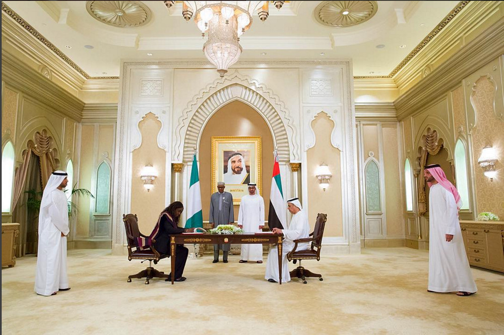 President Buhari and Crown Prince of UAE, Sheikh Mohammed Bin Al Nah Yan witnessing the signing of bilateral agreements by Minister of Finance Kemi Adeosun in Abu Dhabi on 19th Jan 2016