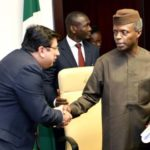 1 , Vice President Osinbajo (right) welcomes the Managing  Director Reckitt Benckiser(RB) West Africa , Rahul Murgai to the Presidential Villa, Abuja ..yesterday (19-01-2016) GODWIN OMOIGUI