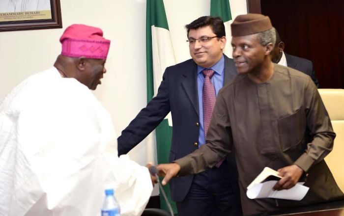 , Vice President Osinbajo (right) welcomes the Managing Director Reckitt Benckiser(RB) West Africa , Rahul Murgai and the Chairman of the Company, Chief Olu Falomo to the Presidential Villa, Abuja ..yesterday (19-01-2016) GODWIN OMOIGUI