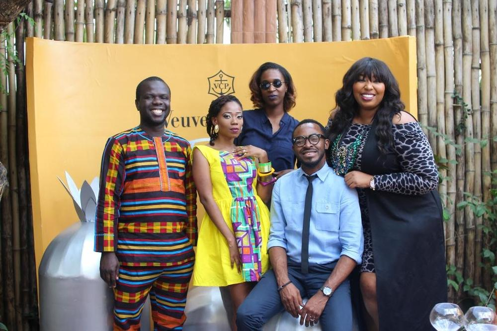 Osi Dirisu, Tosyn Bucknor, Hauwa Mukan, O.C Ukeje and Latasha Ngwube during the Veuve Clicquot Rich Private Tasting at Villa Medici
