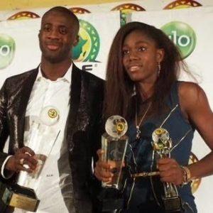 Yaya Toure & Asisat Oshoala at Glo CAF Awards 2014 - BellaNaija - January 2016