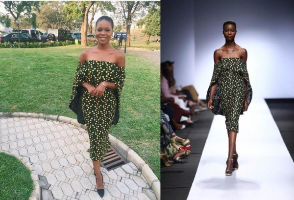 TV Personality Zainab Balogun side by side a DZYN model at the 2015 Lagos Fashion and Design Week
