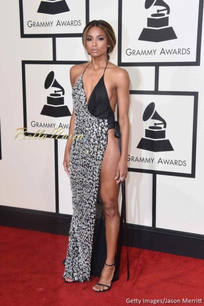 Ciara in a black and metallic sequined Alexandre Vauthier Haute Couture Number