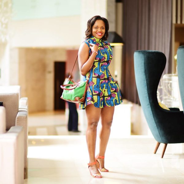 Diana Opoti in a Iona McCreath - Kikoti playsuit and purse from Lulea