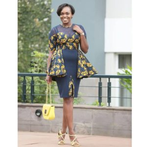 Diana Opoti in a cone peplum dress by Fiona Kay and a lime mini bag by Nigerian brand Timabee