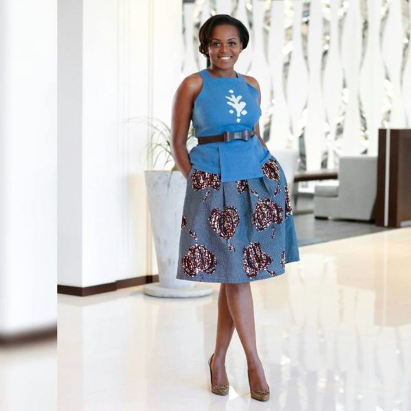 Diana Opoti in a hand painted panel dress by Kiko Romeo, Skirt by Kawiro Mirero and belt by Njema Helena