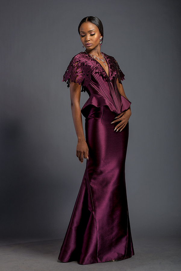 Alexandra - Plum ribbed corset with fringe fascia and floor length skirt. Fringe fascia is patterned with Komole Kandids Azalea motif.