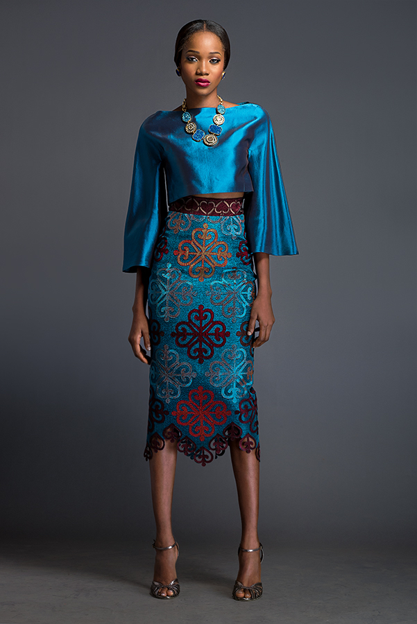 Maxima & Ines - Azure cropped 'Kimo-Buba' and Azure pencil skirt. Skirt is patterned with Komole Kandids Clover motif.