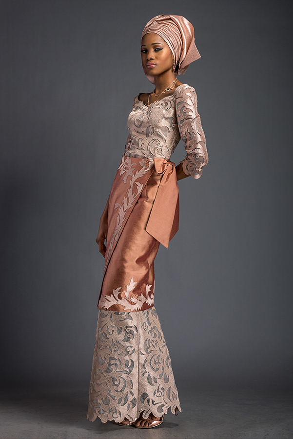"Mena - Apricot and platinum ""Double wrapper"" style ensemble. Patterned with Komole Kandids Nectar motif. Double Wrapper is finished with signature Deola ""cadeaux bow-back""."