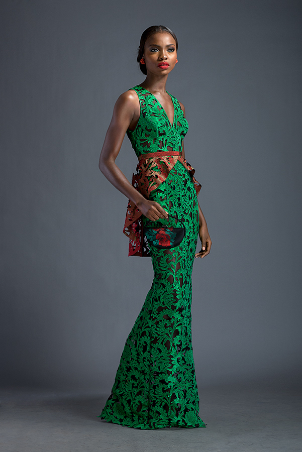 Salma - Emerald floor length dress with attached peplum belt frill. Dress and belt frill patterned with Komole Kandids Forest motif.
