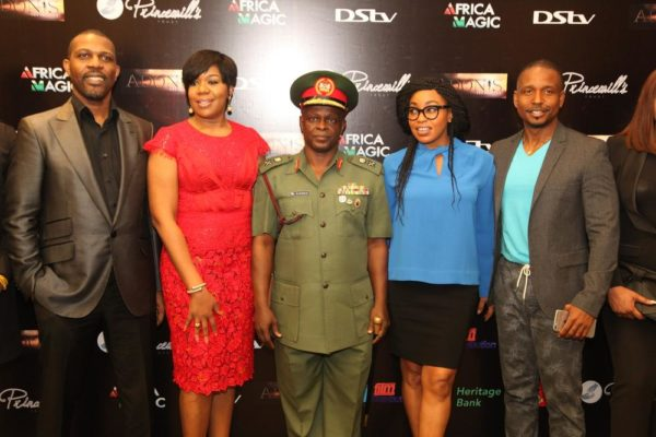 L-R: Prince Tonye Princewill, Executive Producer; Rita Dominic, Nollywood Actress; Major General, Rogers Ibe Nicholas, Chief of Civil Military Affairs, Army HQ.; Wangi Mba-Uzoukwu, Regional Director, M-net West Africa and Adonijah Owiriwa, Executive Producer
