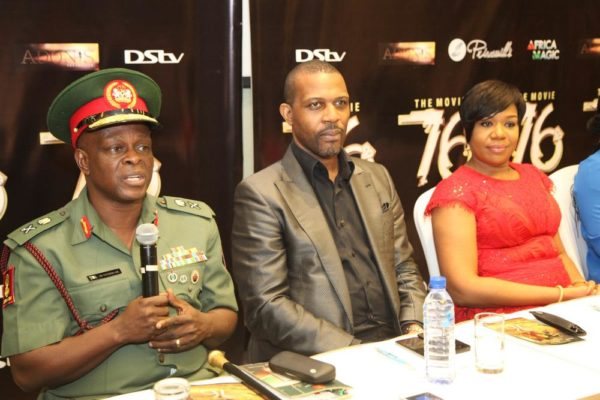 L-R: Major General, Rogers Ibe Nicholas, Chief of Civil Military Affairs, Army HQ.; Prince Tonye Princewill, Executive Producer and Wangi Mba-Uzoukwu, Regional Director, M-net West Africa