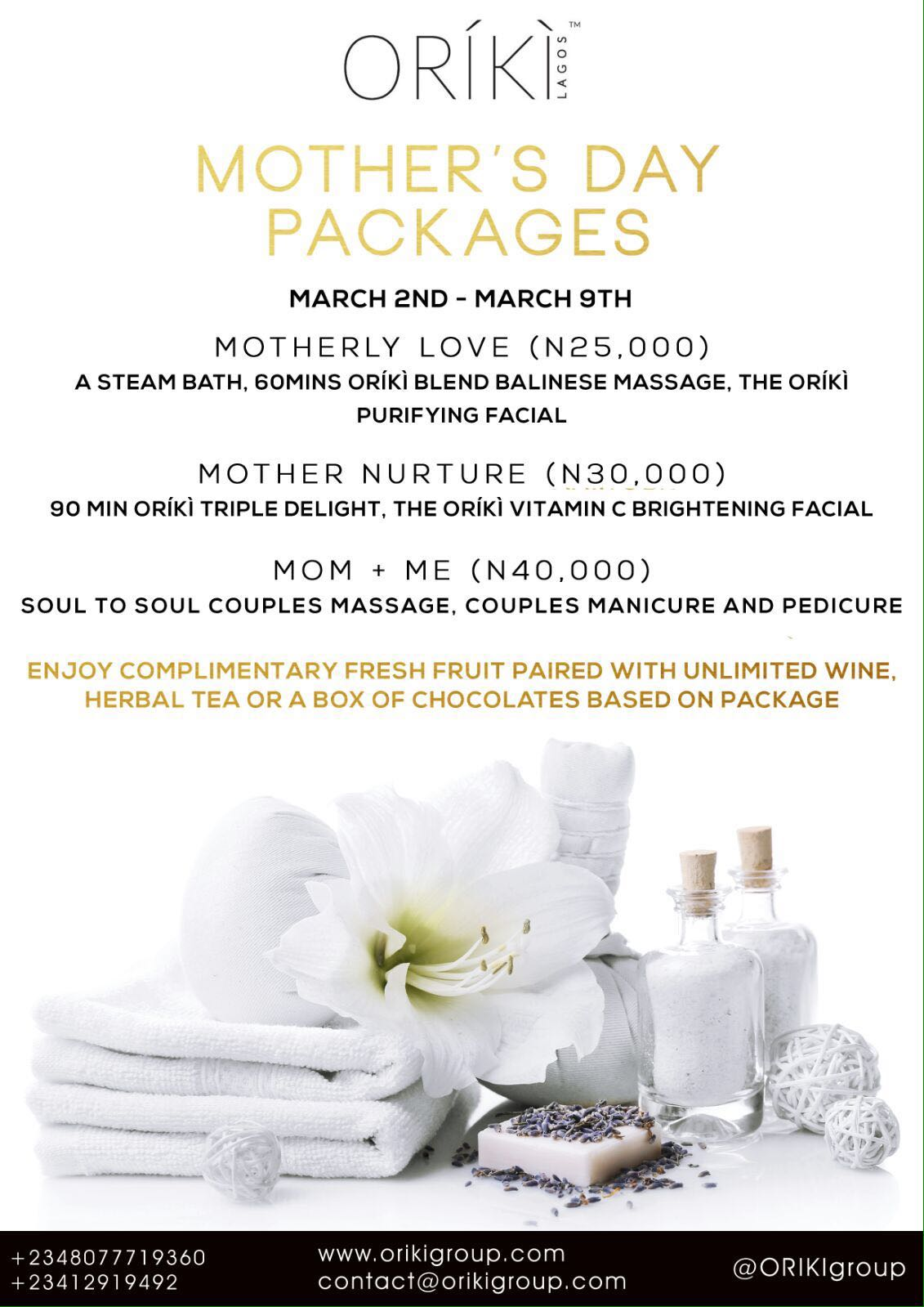 Oriki Spa Mothers Day Packages_March 2016