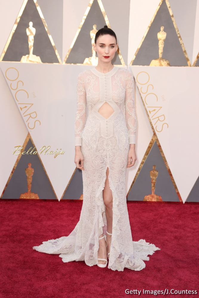 Rooney Mara wearing a Givenchy dress, Stuart Weitzman heels, and Fred Leighton jewels