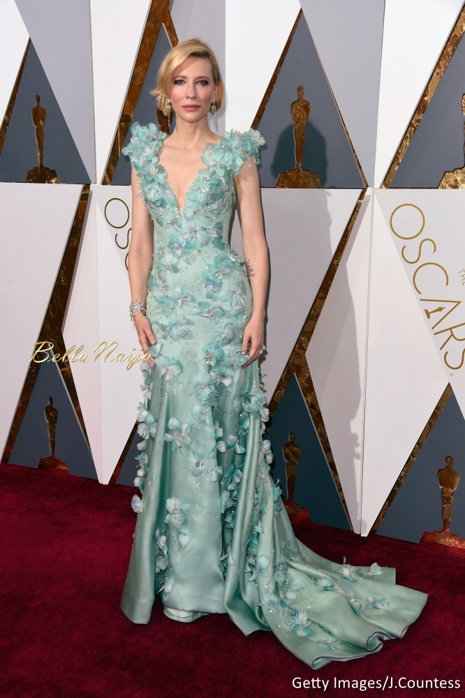 Cate Blanchett wearing an Armani Privé dress, Giuseppe Zanotti shoes, and a Roger Vivier clutch