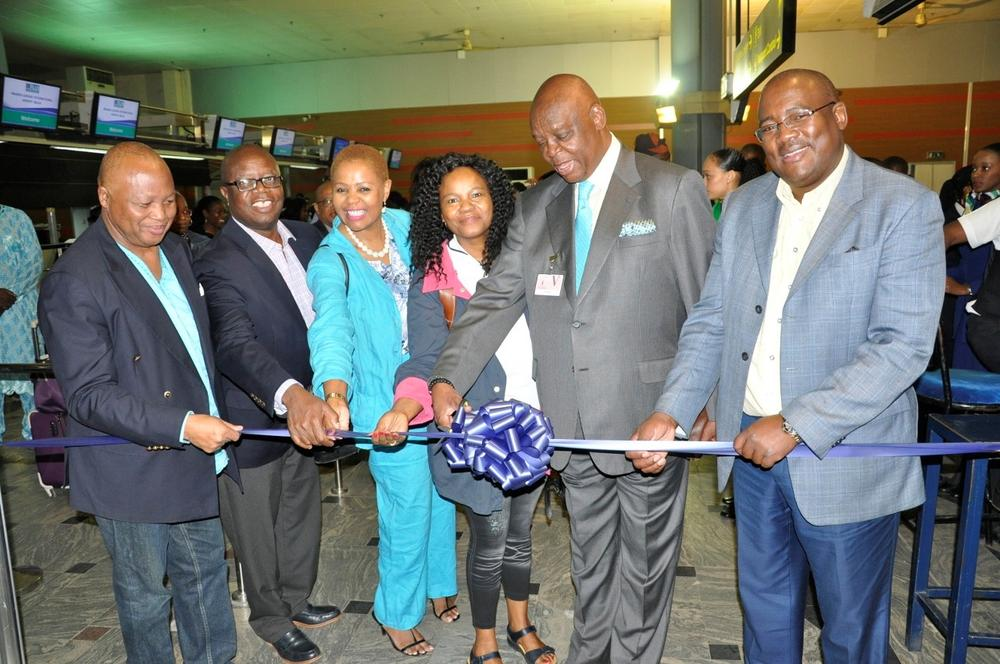 Acting Chief Executive Officer, South Africa Airways, Musa Zwane (right); South Africa High Commissioner to Nigeria, Lulu Mnguni; SAA Board Member, Yakhe Kwinana; General Manager, Operations Zuks Ramasia; General Manager Commercial, Aaron Muretsi and Dr John Tambi SAA Board Member during the Inaugural Flight of South African Airways, Abuja-Johannesburg Route