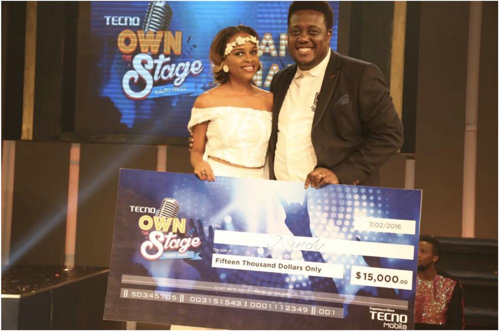 1st runner up Nandy and Oye Akindeinde (Gen Manager mobile apps)