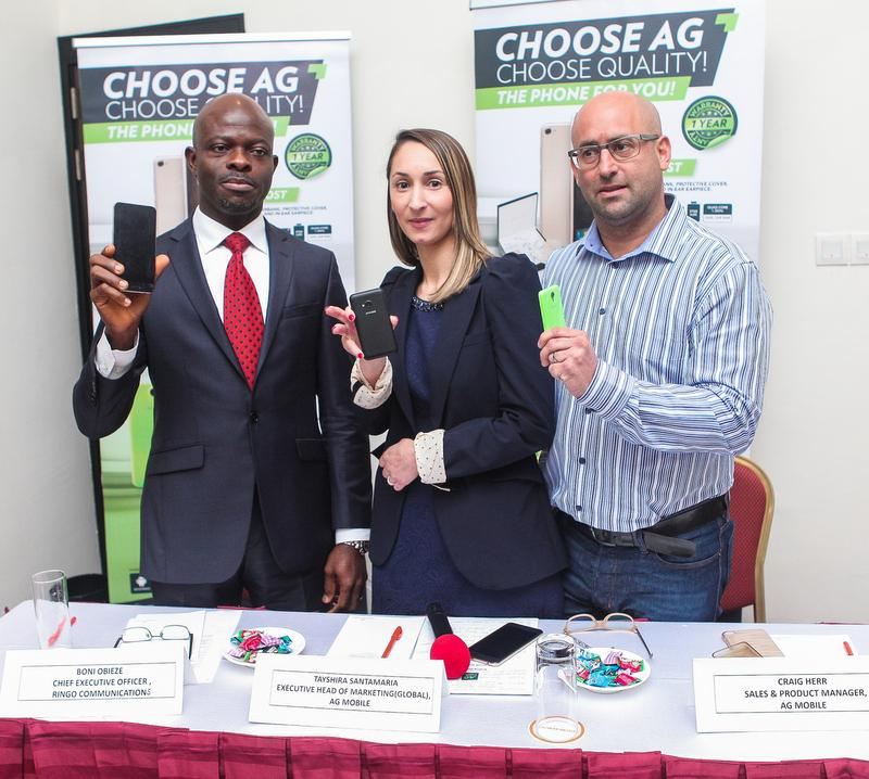L-R: Boni Obieze, Chief Executive Officer, Ringo Communication, Tayshira Santamaria, Executive Head of Marketing (Global), AG Mobile, and Craig Herr, Sales & Product Manager, AG Mobile, during the media launch of AG Mobile in Nigeria, Wednesday, February 3, 2015.