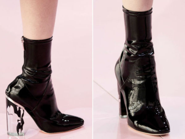 Dior's version of the plastic, glove-like bootie showed as part of the brand's fall 2015 collection