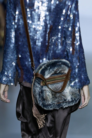 A sling shearling purse at Stefania Morland