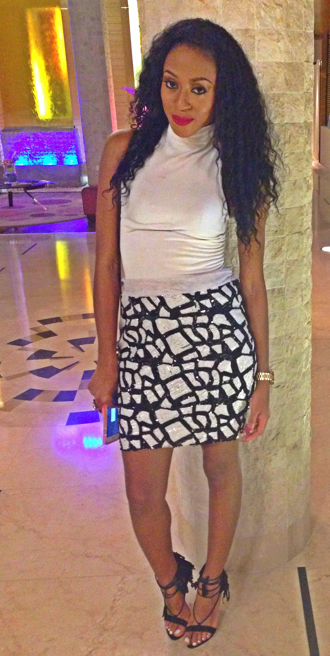 Lola Savage in Abbyke Domina embossed skirt at the Moët and Chandon all white party