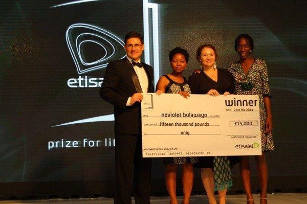 CEO, Etisalat Nigeria, Matthew Willsher, Winner, NoViolet Bulawayo_ and Runners-up, Karen Jennings &amp_ Yetunde Omotoso for Prize for Literature 2013