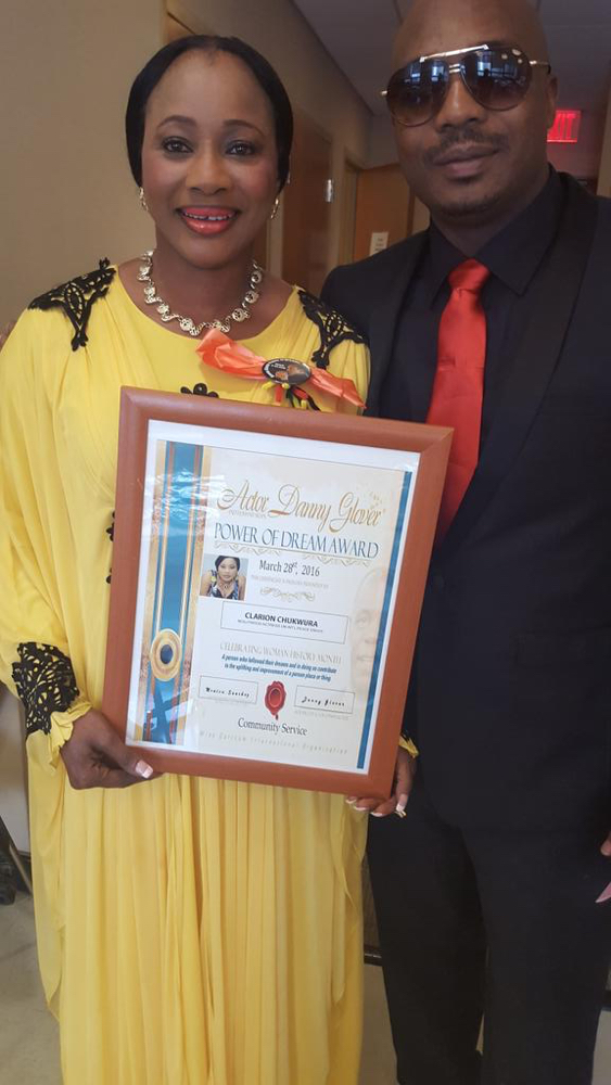 Clarion Chukwurah receives Danny Glover award in Harlem with new Husband_March 2016__1