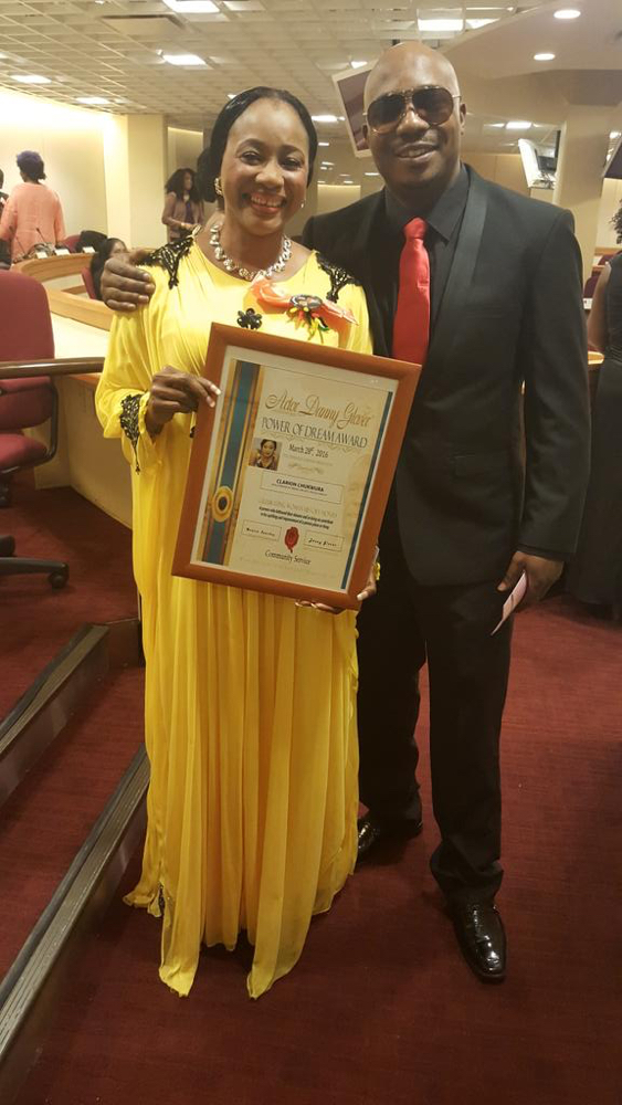 Clarion Chukwurah receives Danny Glover award in Harlem with new Husband_March 2016__2