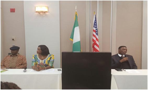 Hon. Dabiri-Erewa with the acting Consul General Mr Habib Bala Mohammed (left)