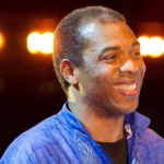 LONDON, ENGLAND - AUGUST 02:  Afrobeat star Femi Kuti, the eldest son of legendary Nigerian artist Fela Kuti, appears in a curtain call alongside the cast of the musical Fela! on August 2, 2011 in London, England. Fela! is the Broadway hit and Tony Award-winning musical which celebrates the life of Fela Kuti, and is perforrmed at Sadler's Wells theatre this summer until August 28..  (Photo by Matthew Lloyd/Getty Images)