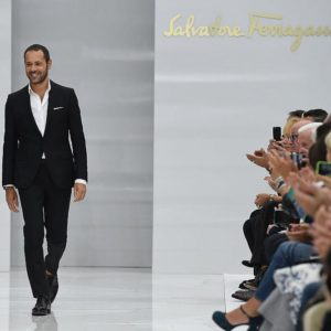 MILAN, ITALY - SEPTEMBER 27:  Designer Massimiliano Giornetti aknowledge the applause of the public after the Salvatore Ferragamo show as a part of Milan Fashion Week Spring/Summer 2016 on September 27, 2015 in Milan, Italy.  (Photo by Venturelli/WireImage)
