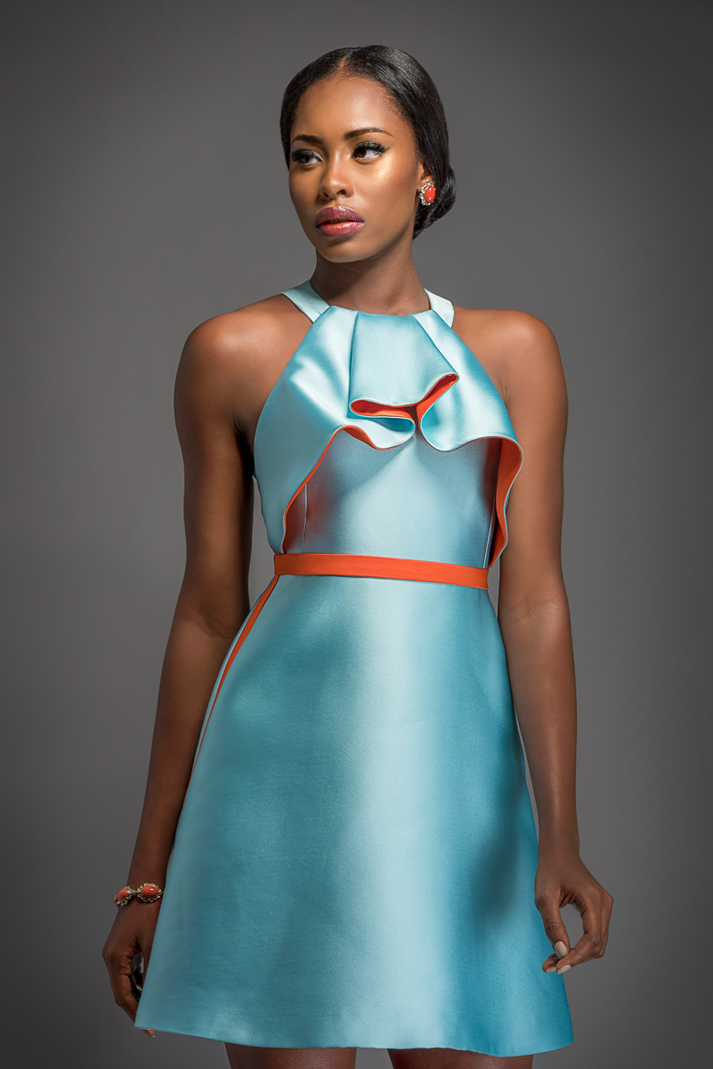 NINA Sky blue short dress with coral inlay and belt.
