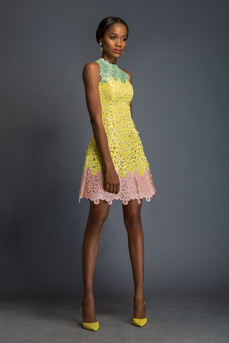 LOUISA Pistachio, daffodil and cherry blossom pink Aso-oke dress patterned with Komole Kandids Bubble motif.
