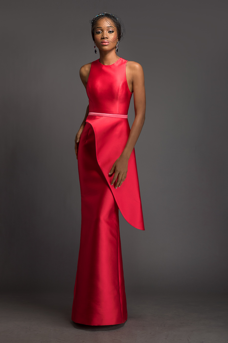 CLAUDIA Alizarin floor length dress with detachable cherry blossom pink and alizarin side peplum.