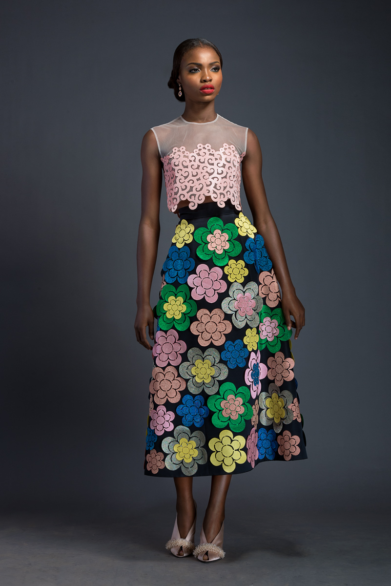 BIBA X REWA Cherry blossom pink diaphanous crop-top with Komole Kandids Bubble motif. A-line, midi skirt adorned with Komole Kandids Daisy motif.