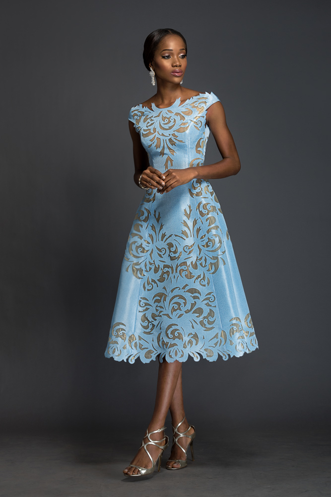 SOPHIA Alice blue Aso-oke, A-line dress patterned with Komole Kandids Nectar motif.