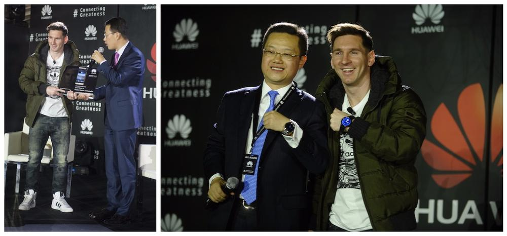 Kevin Ho, President, Handset Business, Huawei Consumer BG presenting Mate 8 to Lionel Messi |Tyrone Liu, CEO Consumer Business Group for Huawei Latin America displaying Huawei watch as a gift to Lionel Messi