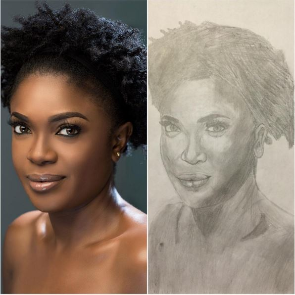 Proud Mama! Omoni Omoli shows off her 10 Year Old Son's first Pencil Portrait