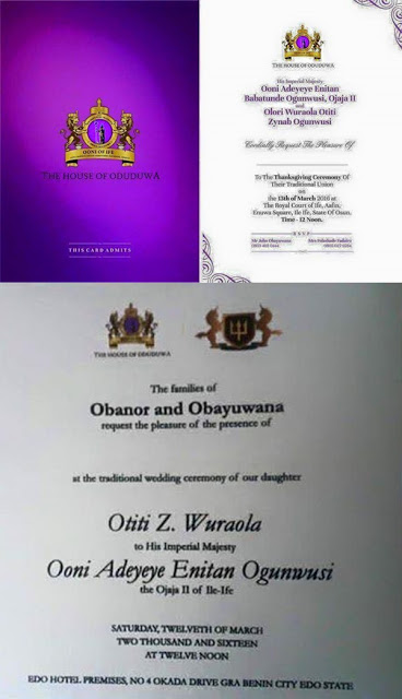 Ooni of Ife 2nd Wedding Invite_February 2016