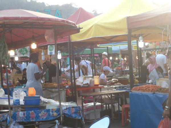 Open air food market
